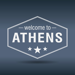 welcome to Athens hexagonal white vintage label