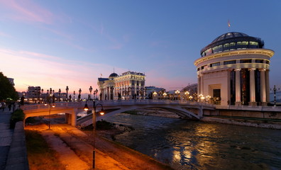 Skopje night scene at dawn -museum of Archeology and bridge