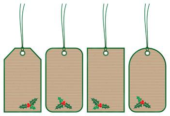 Set 5 Christmas Hangtags Holly Brown Paper Green