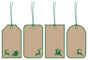 5 Christmas Hangtags Santa Brown Paper Green
