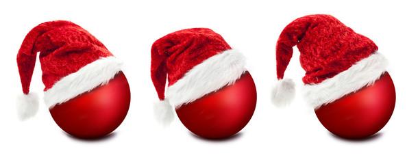 Weihnachtsmützen auf Weihnachtskugeln