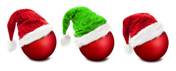 Grüne Weihnachtsmützeauf Weihnachtskugel