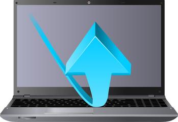 niebieska strzałka i laptop