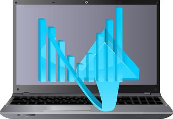niebieska strzałka i wykres i laptop