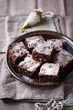 Chocolate brownies with nuts and cranberries for Christmas