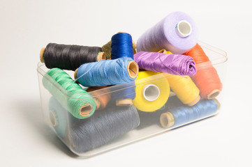 Pile of thread spools