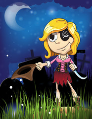 Halloween pirate girl in the cemetery