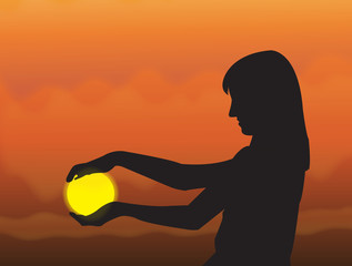 """Silhouette """"girl holding the sun"""""""