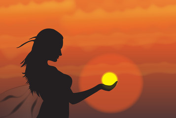"Silhouette ""girl holding the sun"""
