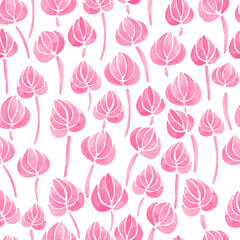 watercolor seamless pattern with lily flower