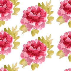 watercolor pretty flower pattern with peonies