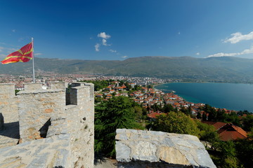 Aerial view of Ohrid Lake, city of Ohrid and mountains