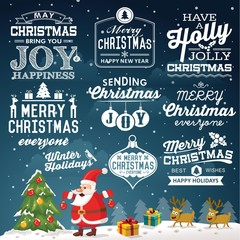 Christmas decoration collection of labels icons elements