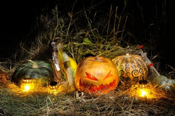 Halloween, Pumpkins and Brooms