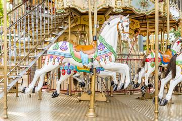 Horse on a carousel at a fair