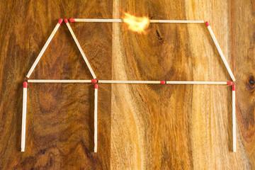 Haus aus Zündhölzern mit Feuerquelle