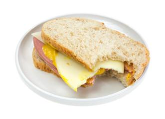 Mortadella provolone cheese sandwich bitten
