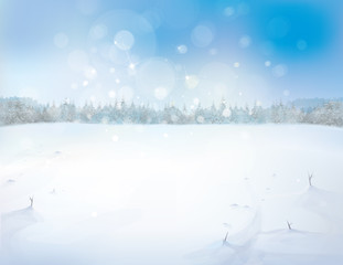 Vector snowy landscape with forest background.