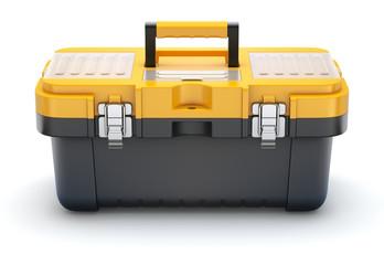 Yellow black plastic toolbox