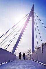 Schrägseilbrücke Fußgängerbrücke Brücke Silhouette