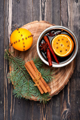 Christmas hot drink mulled wine with spices
