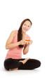 canvas print picture - Yogini trinkt Tee und lacht