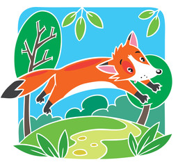 Children vector illustration of little red fox