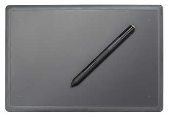 Top view of modern graphic tablet isolated on white background