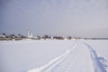 Landscape with the Russian winter and the church in Tver