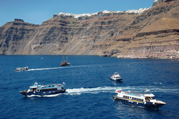 cutters in fornt of Santorini