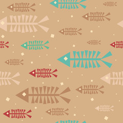 Beige ethnic floating fish skeletons seamless pattern