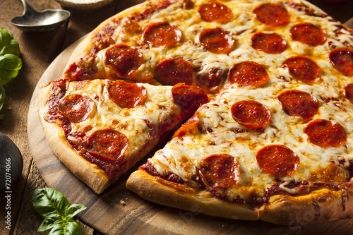 Hot Homemade Pepperoni Pizza - 72074066