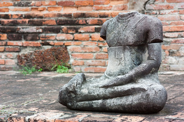 Ruins of old Buddha in Ayutthaya, Thailand