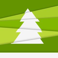Creative Christmas tree card. Asymmetric Christmas tree formed