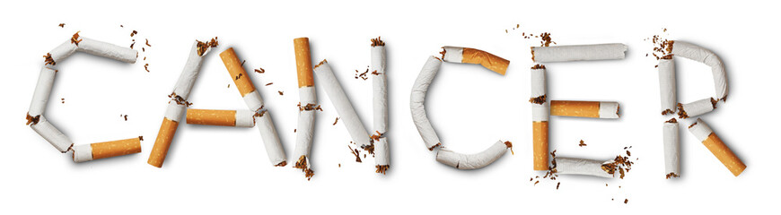 Text ''cancer'' made from broken cigarettes