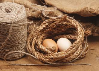 Fresh Egg With Burlap Sack Harvest on Wood Table Background