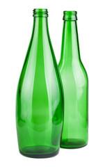 Two green empty bottles