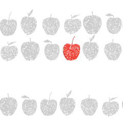 Cute seamless pattern with decorative apples. Endless repeating