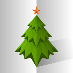 Green triangle Christmas tree, vector illustration