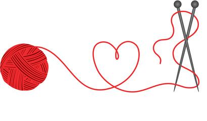 Wool knitting heart shape