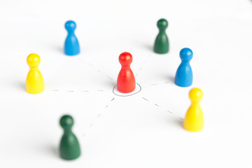 Game figurines outsource business diagram depicting community