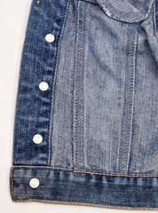 closeup of a blue denim jacket