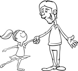 father and daughter coloring page