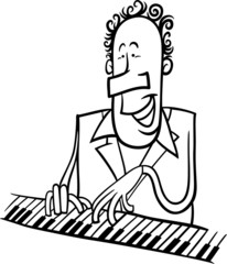 pianist cartoon coloring page