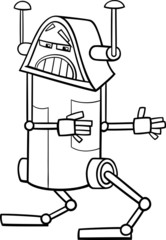 robot character cartoon coloring page
