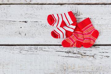 baby red striped socks