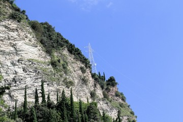 a high-voltage pylons for electricity on the mountains