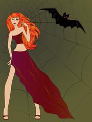 Halloween girl with cat eyes against large cobweb