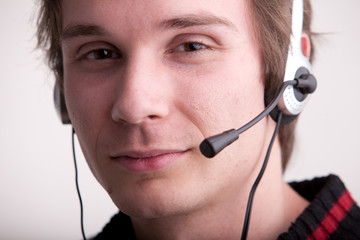 call center young man with a headset
