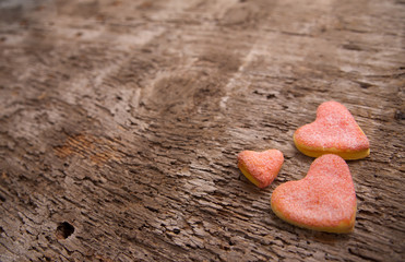 yummy heart bisquits on the table